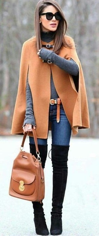 How to Wear a Tobacco Leather Bucket Bag: Why not opt for a camel cape coat and a tobacco leather bucket bag? As well as totally comfortable, these two items look incredible paired together. A cool pair of black suede over the knee boots is the most effective way to add a dash of refinement to this look.