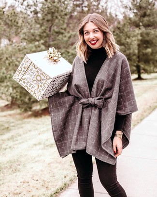 How to wear: grey check cape coat, black turtleneck, black skinny jeans, gold watch