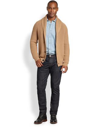 ab0291b867353 Pense à opter pour un cardigan à col châle marron clair et un jean noir pour