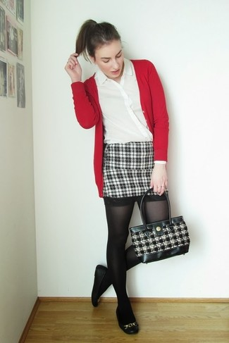 How to wear: red cardigan, white button down blouse, black and white plaid mini skirt, black leather ballerina shoes
