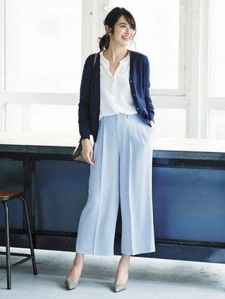 How to wear: navy cardigan, white button down blouse, light blue wide leg pants, grey leather pumps