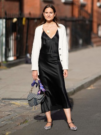 How to wear: white knit cardigan, black satin cami dress, white and black leather ballerina shoes, grey print canvas satchel bag