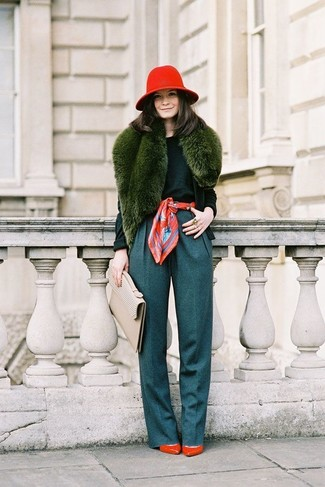 How to wear: dark green cardigan, dark green crew-neck sweater, teal wide leg pants, red leather pumps