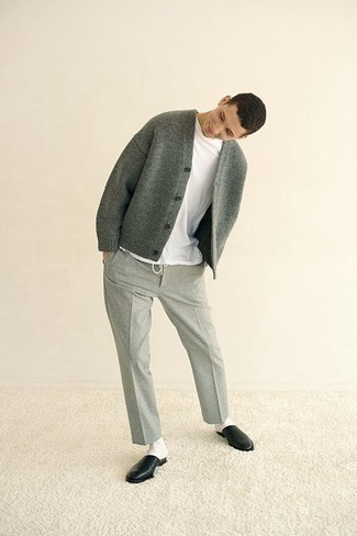 How to Wear Grey Wool Chinos: Go for a grey cardigan and grey wool chinos for both on-trend and easy-to-style look. If you want to effortlesslly perk up your ensemble with footwear, why not add a pair of black leather loafers to this outfit?