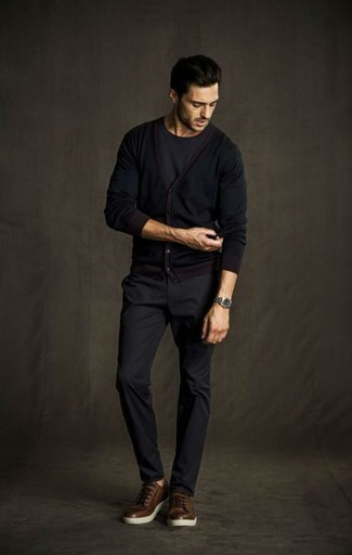 Black Cardigan Outfits For Men: For a laid-back and cool outfit, try pairing a black cardigan with charcoal chinos — these pieces go really well together. Here's how to tone down this ensemble: brown leather low top sneakers.