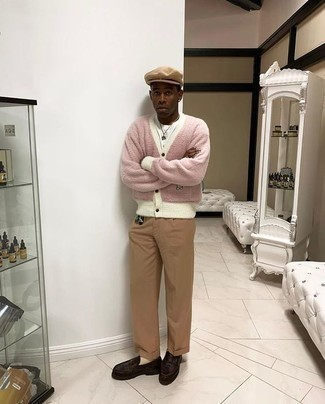 Tan Flat Cap Outfits For Men: Wear a pink fleece cardigan with a tan flat cap for a contemporary ensemble that's easy to wear. A trendy pair of dark brown leather loafers is a simple way to power up this ensemble.