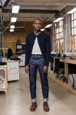 How to Wear Brown Leather Casual Boots For Men: Flaunt your prowess in men's fashion by pairing a navy cardigan and navy jeans for a casual combination. Want to play it up in the shoe department? Add a pair of brown leather casual boots to the equation.