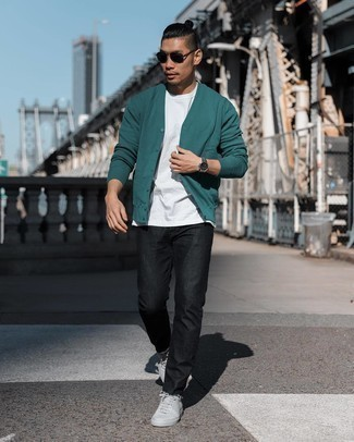 Low Top Sneakers Outfits For Men: Marrying a teal cardigan with black jeans is a good pick for an off-duty yet seriously stylish getup. Our favorite of a myriad of ways to finish off this outfit is with a pair of low top sneakers.