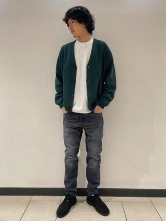 Men's Dark Green Cardigan, White Crew-neck T-shirt, Charcoal Jeans, Black Suede Desert Boots