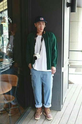 Gold Watch Casual Outfits For Men: If you feel more confident in practical clothes, you'll like this urban pairing of a dark green cardigan and a gold watch. Let your styling expertise really shine by finishing off your ensemble with brown leather high top sneakers.