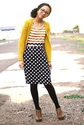 Women's Mustard Cardigan, Orange Horizontal Striped Crew-neck T-shirt, Black and White Polka Dot Pencil Skirt, Brown Leather Ankle Boots