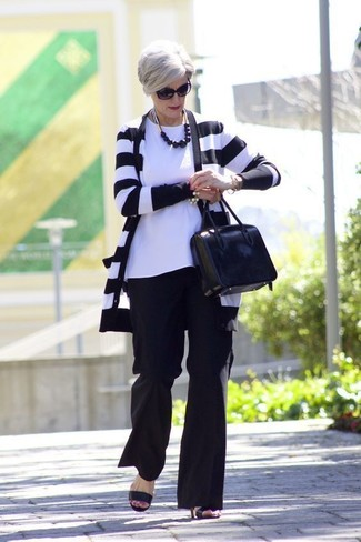 How to wear: black and white horizontal striped cardigan, white crew-neck t-shirt, black wide leg pants, black leather heeled sandals