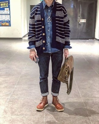 Blue Denim Shirt Outfits For Men: A blue denim shirt and navy jeans are a nice outfit formula to have in your menswear arsenal. For a more elegant spin, complete your getup with a pair of tobacco leather casual boots.