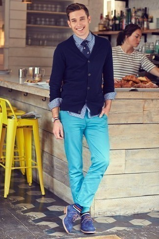 How to Wear Blue Horizontal Striped Socks For Men: This casual combo of a navy cardigan and blue horizontal striped socks is a fail-safe option when you need to look stylish in a flash. For something more on the classy end to finish off this outfit, complete this look with a pair of blue suede derby shoes.