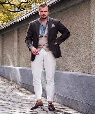Beige Cardigan Outfits For Men: A beige cardigan and white chinos paired together are a great match. For something more on the smart side to finish this ensemble, add a pair of dark brown leather monks to this ensemble.