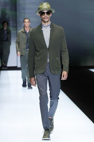 How to wear: olive cardigan, grey dress shirt, blue dress pants, olive leather derby shoes