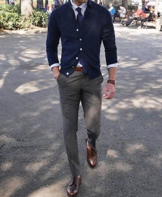 How to wear: navy cardigan, white print dress shirt, olive dress pants, dark brown leather derby shoes