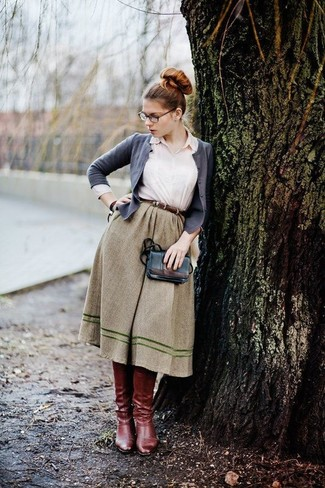 How to Wear a Dark Green Full Skirt (2 looks   outfits)  4bb86ba66