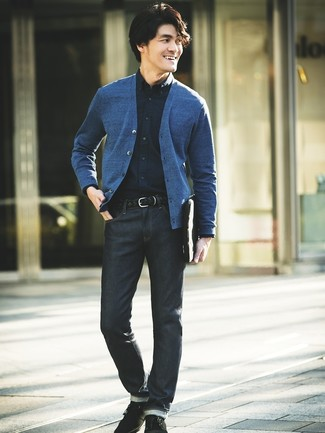 How to wear: blue cardigan, navy dress shirt, navy jeans, black suede desert boots