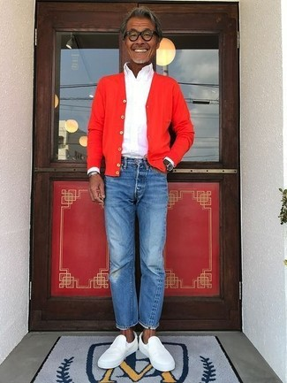 How to wear: red cardigan, white dress shirt, blue jeans, white leather slip-on sneakers