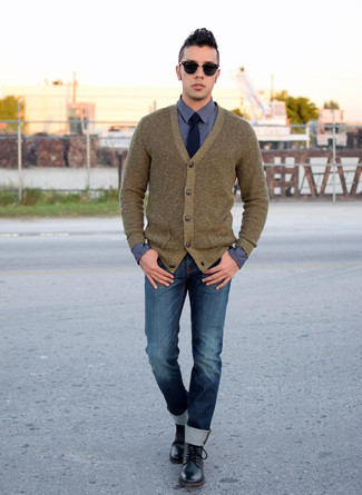 How to wear: olive cardigan, navy dress shirt, navy jeans, black leather casual boots