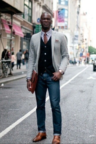 Black Cardigan Outfits For Men: If you're on a mission for a casual yet sharp look, try pairing a black cardigan with navy jeans. Infuse a dose of refinement into this ensemble by wearing tobacco leather double monks.