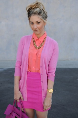 How to Wear a Pink Cardigan In a Dressy Way For Women: Why not marry a pink cardigan with a hot pink mini skirt? As well as very comfortable, both pieces look cool when paired together.