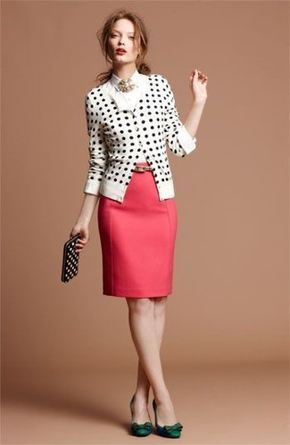 Glam up for the day in a white and black polka dot cardigan and a J.Crew Pencil Skirt In Super 120s Wool. Balance this ensemble with dark green leather pumps. Spring calls for chic getups just like this one.