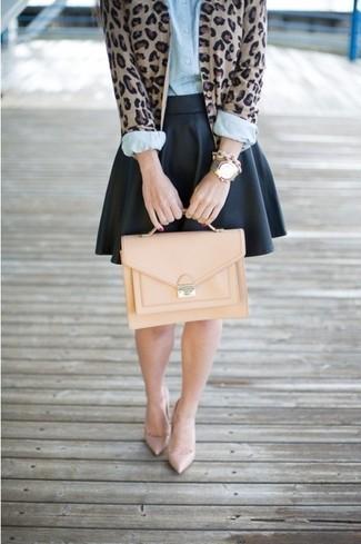 How to wear: brown leopard cardigan, light blue dress shirt, black leather skater skirt, beige leather pumps