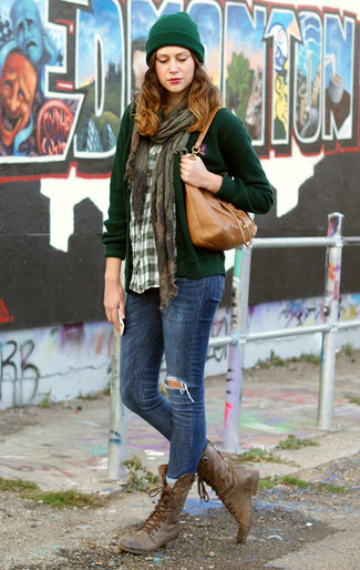 How to wear: dark green cardigan, green plaid dress shirt, blue ripped skinny jeans, brown leather lace-up flat boots