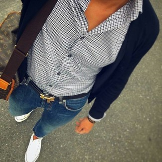 How to wear: black cardigan, white and black houndstooth dress shirt, blue skinny jeans, white canvas high top sneakers