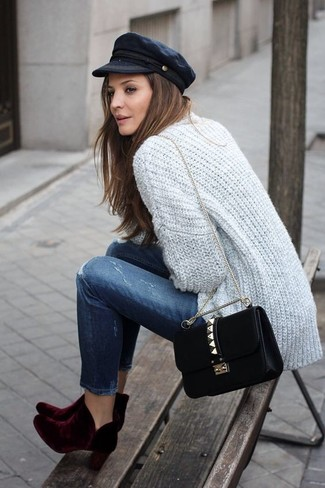 Women's Grey Knit Cardigan, Navy Ripped Jeans, Burgundy Velvet Ankle Boots, Black Suede Crossbody Bag