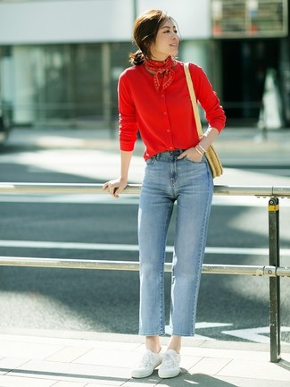 How to wear: red cardigan, light blue jeans, white canvas low top sneakers, tan straw crossbody bag