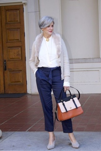 How to wear: grey cardigan, white long sleeve blouse, navy vertical striped tapered pants, grey suede pumps