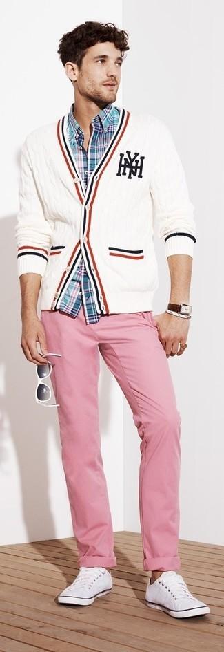 Men's White Knit Cardigan, Aquamarine Plaid Long Sleeve Shirt, Pink Chinos, White Low Top Sneakers