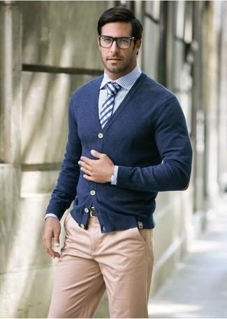 6598951586 Men's Navy Cardigan, White and Navy Check Long Sleeve Shirt, Khaki ...