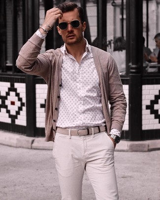 How to wear: beige cardigan, white print long sleeve shirt, beige chinos, beige woven canvas belt