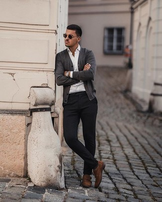 Socks Outfits For Men: A charcoal cardigan and socks are an urban pairing that every modern guy should have in his off-duty wardrobe. A trendy pair of brown suede double monks is an easy way to breathe an air of elegance into your outfit.