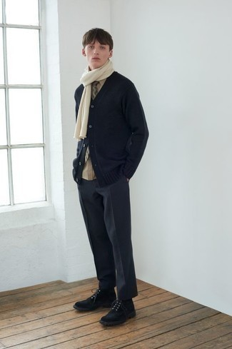 Men's Black Cardigan, Tan Long Sleeve Shirt, Charcoal Chinos, Black Suede Casual Boots