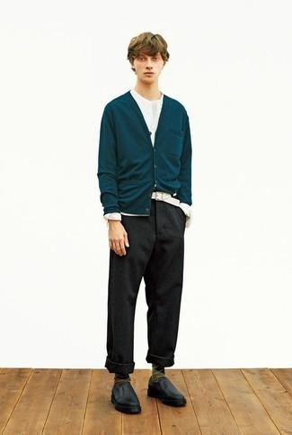 Black Leather Loafers Outfits For Men: A teal cardigan and charcoal wool chinos are among the crucial pieces in any modern man's properly edited casual sartorial collection. Let your outfit coordination skills truly shine by finishing your ensemble with black leather loafers.