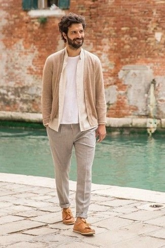 Boat Shoes Outfits: Consider teaming a tan cardigan with grey chinos to feel completely confident in yourself and look cool and casual. A great pair of boat shoes will never go out of style.