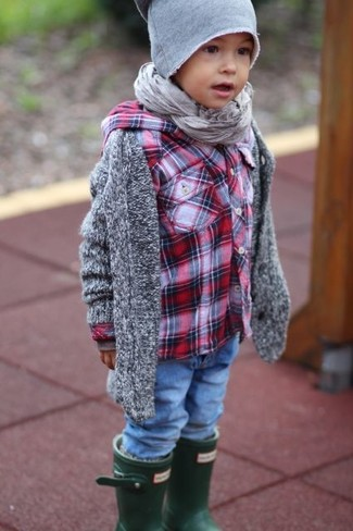 Boys' Grey Cardigan, Red Plaid Long Sleeve Shirt, Blue Jeans, Dark Green Rain Boots