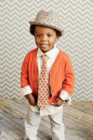 How to Wear an Orange Tie For Boys: Reach for an orange cardigan and an orange tie for your little man for a comfy outfit.