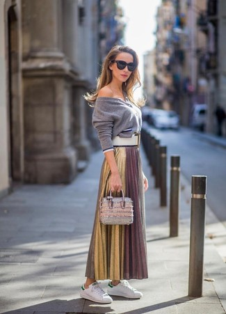 How to wear: grey cardigan, gold pleated maxi skirt, white leather low top sneakers, silver leather handbag