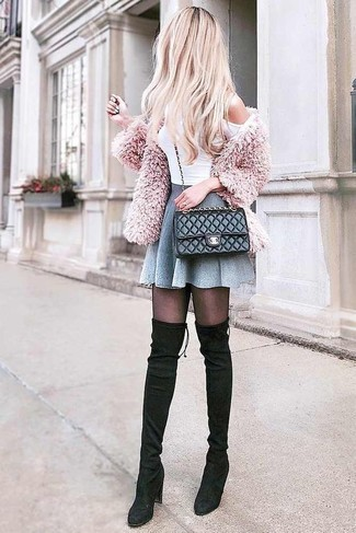 How to wear: pink fluffy cardigan, white off shoulder top, grey skater skirt, black suede over the knee boots