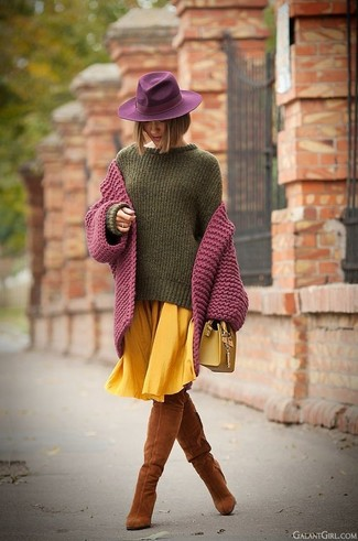 Woven Large Satchel Bag Mustard
