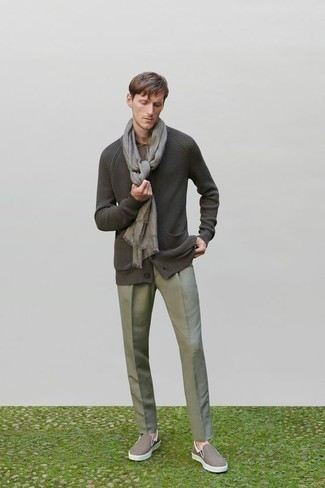 Charcoal Cardigan Outfits For Men: This pairing of a charcoal cardigan and grey dress pants is a surefire option when you need to look like a proper dandy. If you wish to instantly dress down this look with one single item, complement this outfit with a pair of brown canvas slip-on sneakers.