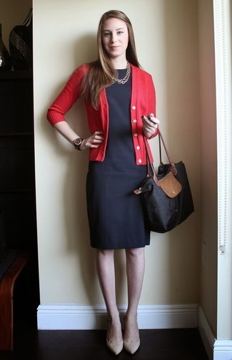 How to wear: red cardigan, black sheath dress, beige leather pumps, black canvas tote bag