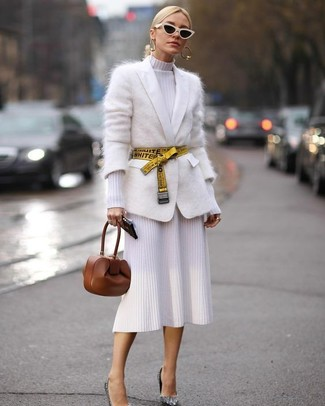 How to wear: white mohair cardigan, white knit sheath dress, silver sequin pumps, brown leather clutch