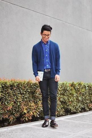 How to Wear Charcoal Jeans For Men: If you gravitate towards off-duty style, why not take this combo of a blue cardigan and charcoal jeans for a walk? If you need to instantly up the ante of your ensemble with shoes, add a pair of burgundy leather derby shoes to this look.